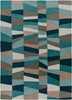 Cosmopolitan Modern Abstract Teal Blue and Gray Rug~COS9187