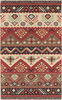 Jewel Tone Tribal Hand Woven Kilim Red and Khaki Wool Rug~JT8