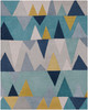 Kennedy Modern Zig Zag Hand Tufted Blue and Gray Wool Rug~KDY3012