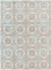Mavrick Circle Quilt Teal Blue and Taupe Rug~MAV7018
