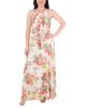 Sleeveless Tie Waist Pleated Maxi Dress~Ivory Waterfleur*MCCD0395