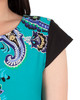 Cap Sleeve Printed Shift Dress~Noir Paisleydive*MITD3999