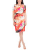 Draped Printed Shift Dress~Red Flowerrays*MITD3994