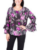 Floral Stripe Tie-Up Bell Sleeve Top~Black Beautyfall*MDOU1737
