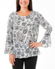 Floral Buttoned Bell Sleeve Top~Black Bloom*MPOU1112