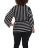 Plus Size Stripe Twist Front Top~Black Instastripe*WITU6389