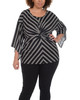 Plus Size Stripe Twist Front Top~Black Instastripe*WITU6389
