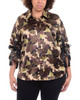 Plus Size Camo Tie-Up Sleeve Blouse~Camuflaje*DCHB0326
