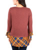 Plaid Trim Solid 3/4 Sleeve Top~Coco Juneduo*MHAU0269