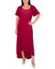 Short Sleeve Embellished High-Low Dress~Deep Maroon*MITD4006