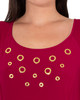 Petite Short Sleeve Embellished High-Low Dress~Deep Maroon*PITD4006