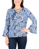 Printed Lace Up V Neck Bell Sleeve Top~Navy Pais*MDOU1750