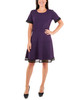 Mesh Panel Fit and Flare Dress~Purple Risedot*MNKD0424