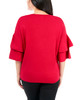 Double Flounce 3/4 Dolman Sleeve Sweater~Rogue Red*MSOU0865