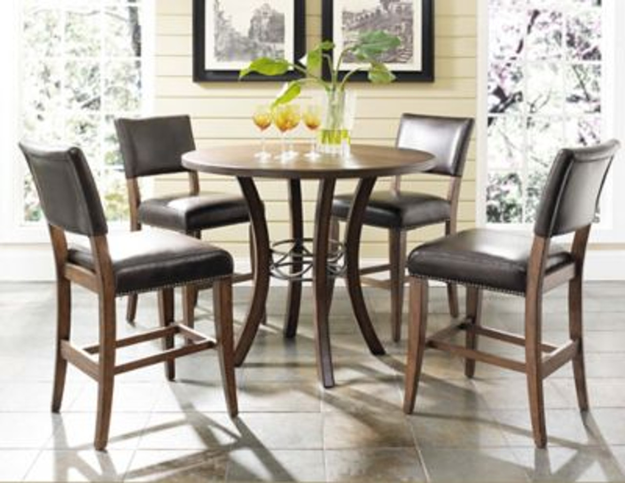 Cameron 5 Piece Counter Height Round Wood Dining Set With Parson Stool 4054203 Bon Ton