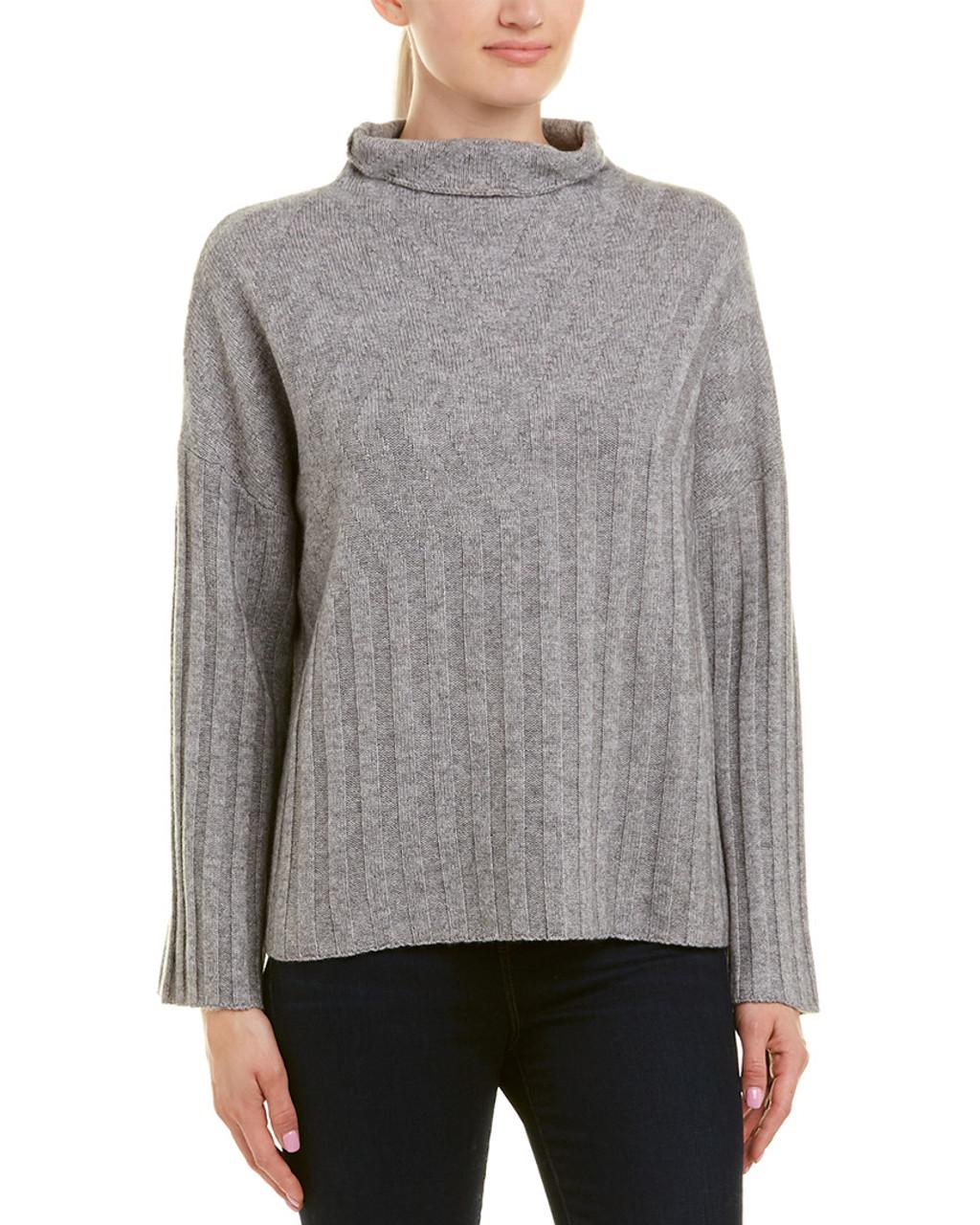 b6e4cb76 Qi Cashmere Textured Funnel Neck Wool & Cashmere-Blend Sweater ...
