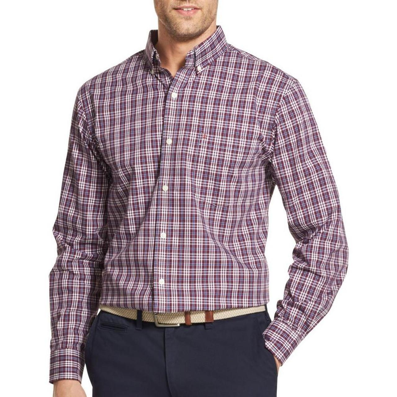 Izod Mens Premium Essentials Checkered Plaid Button Up Shirt45gw004