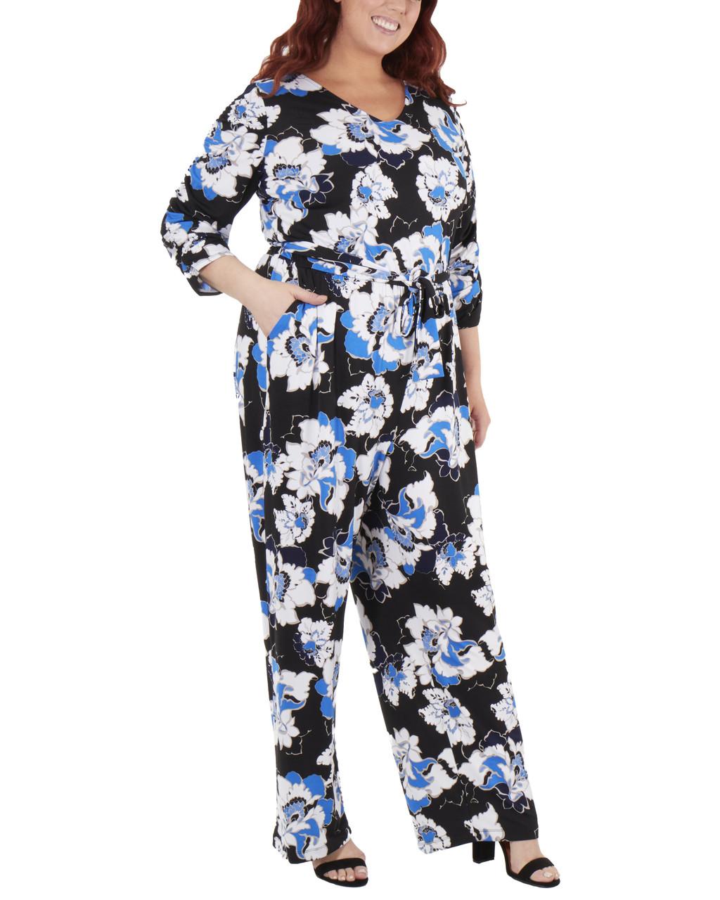 36e728053c Plus Size Floral Sash Belt Jumpsuit~Black Scabiosa WITU6920 - Bon-Ton