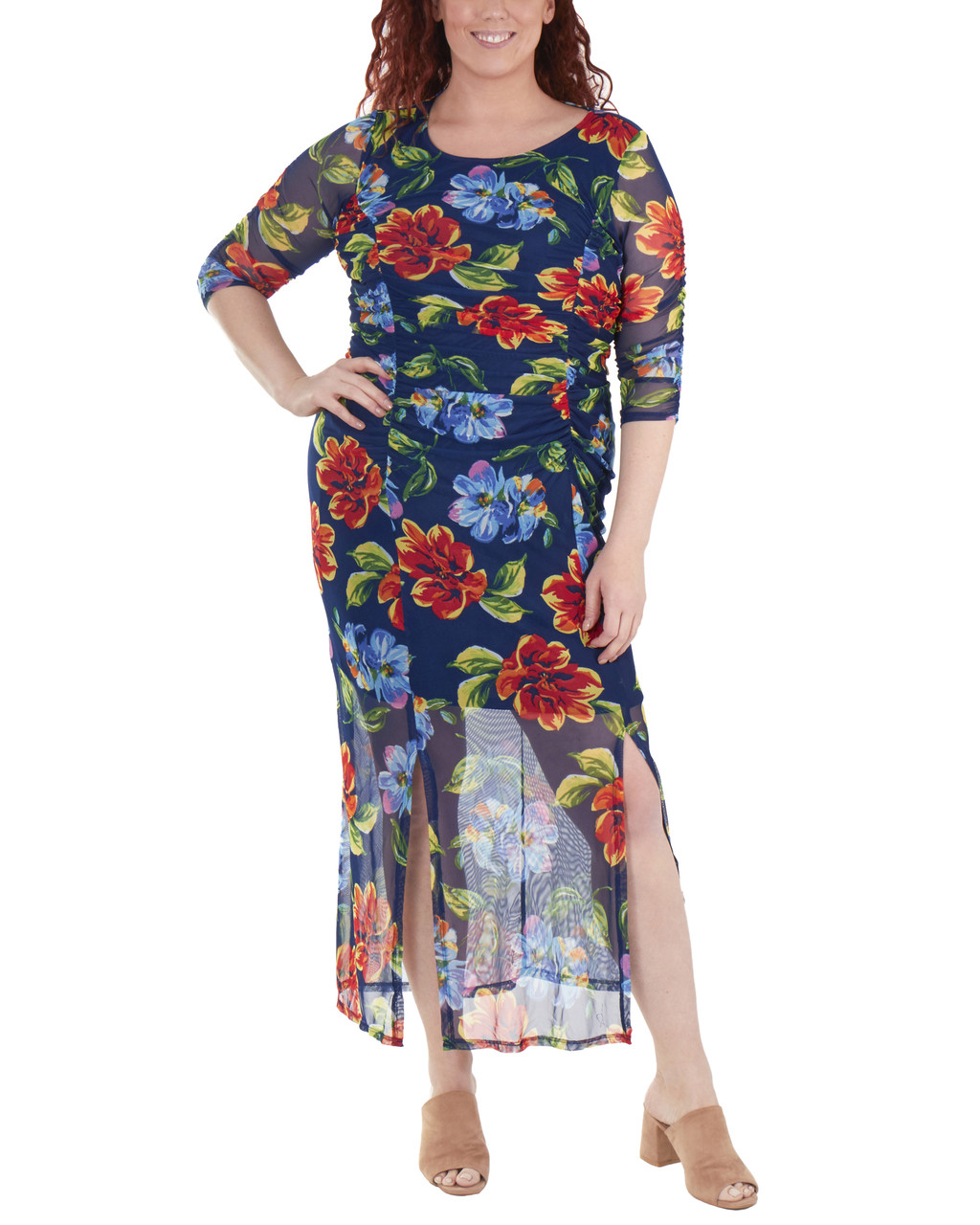 6543473ef53 Plus Size Floral Double Slit Maxi Dress~Navy Penascoflor WMED0195 ...