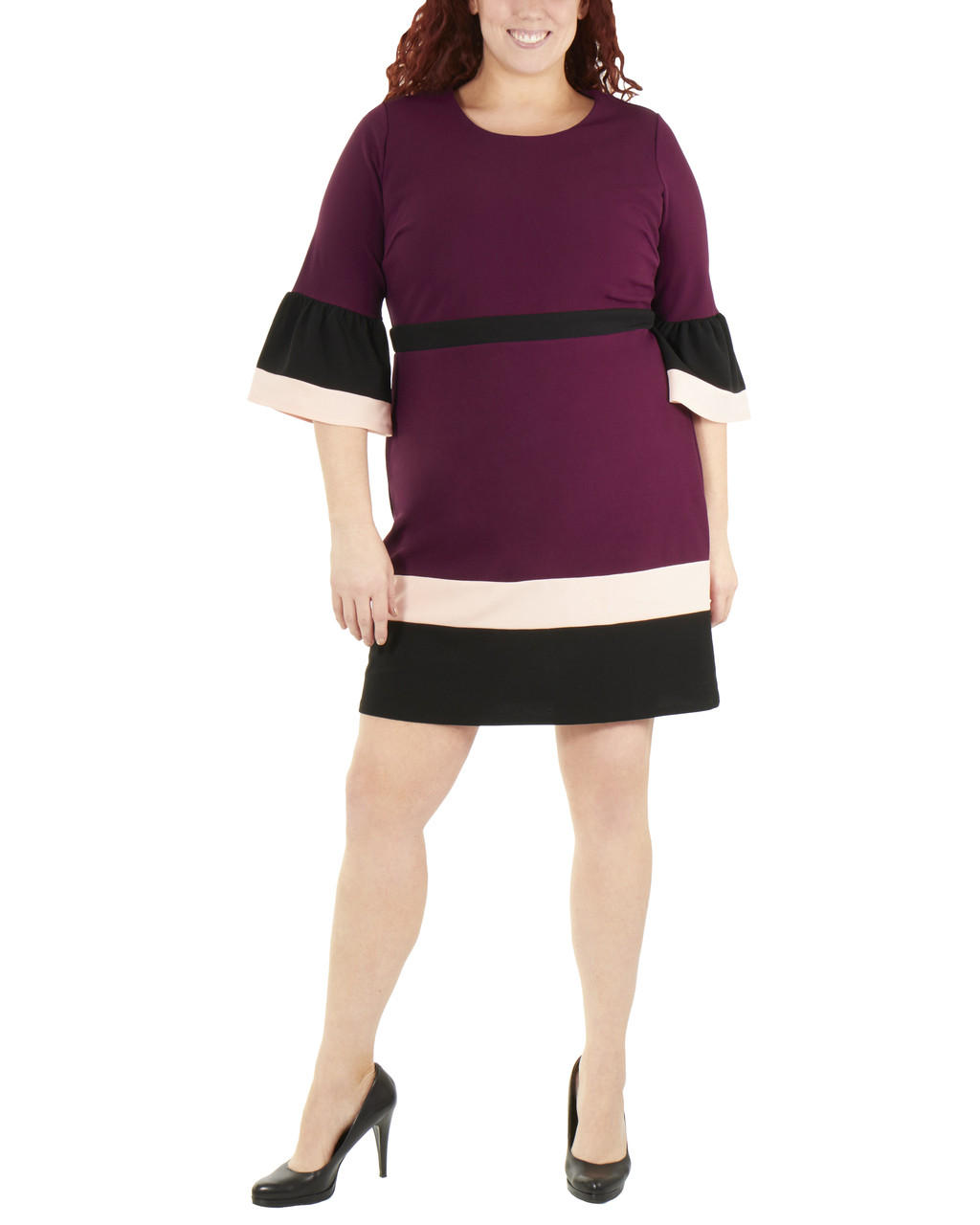 Plus Size Bell Sleeve Bodycon Color Block Dress~Grape Eilat*WNKD0445 ...