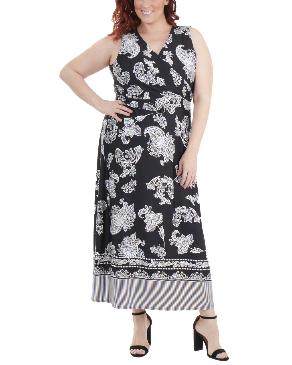 Plus Size Wrap Front Maxi Dress with Hardware Belt Trim~Black ...