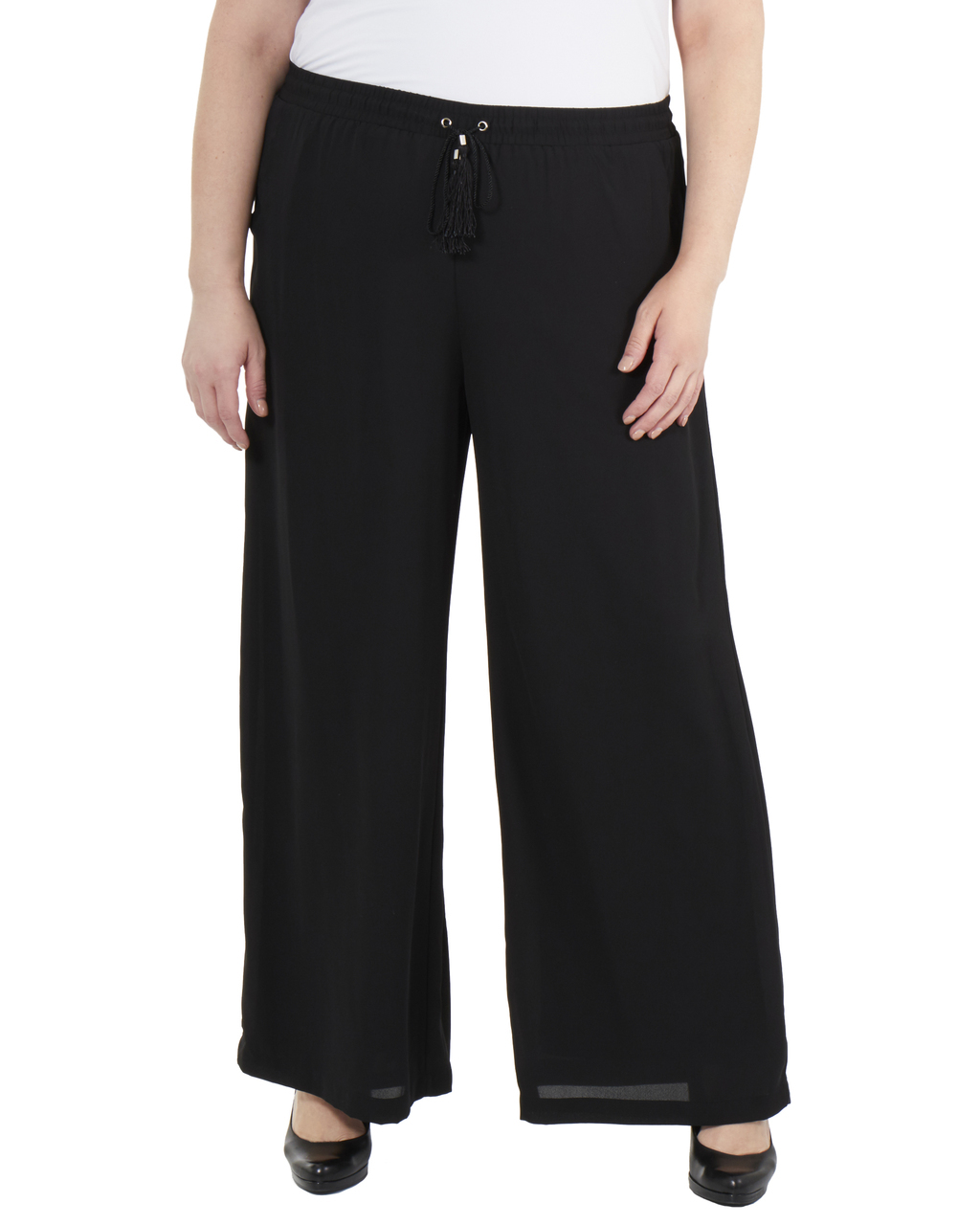 Plus Size Elastic Waist Tassel Tie Palazzo Pants~Black*WDOP0139 ...