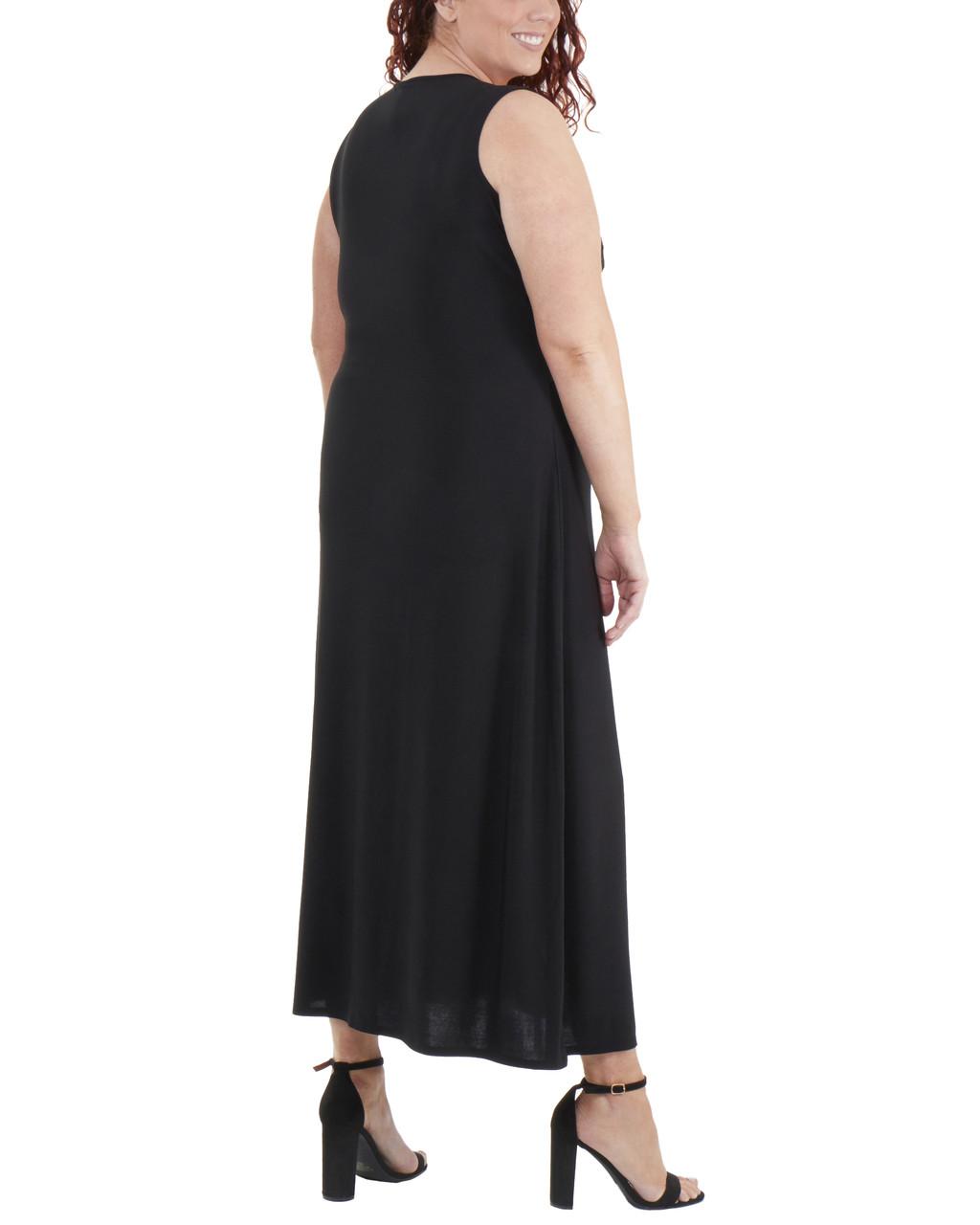 Plus Size Wrap Front Maxi Dress with Hardware Belt Trim~Black*WITD3767