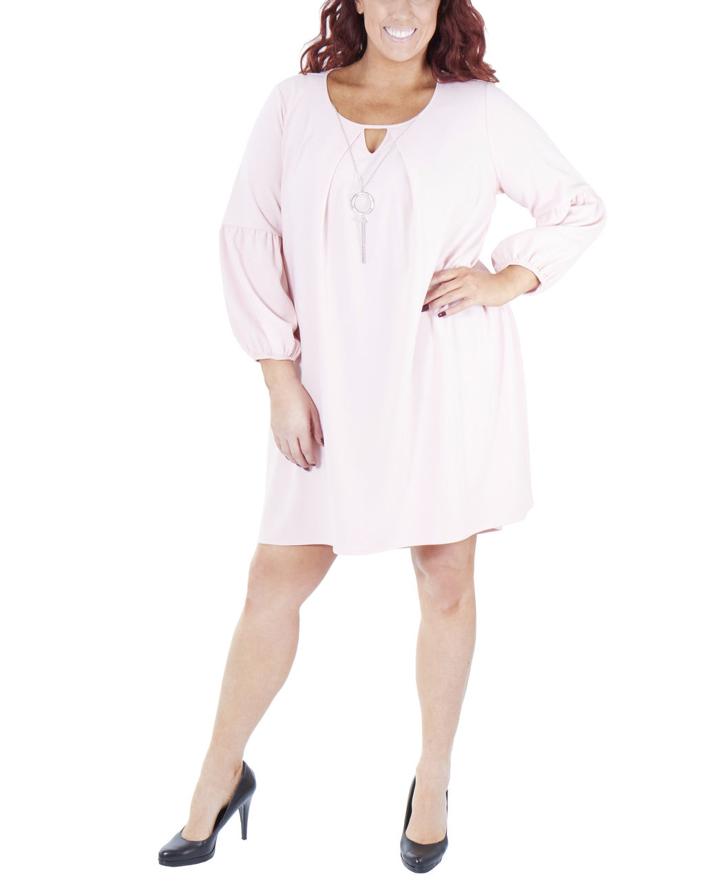Plus Size Long Sleeve Scoop Neck High-Low Dress~Blush*WNKD0442