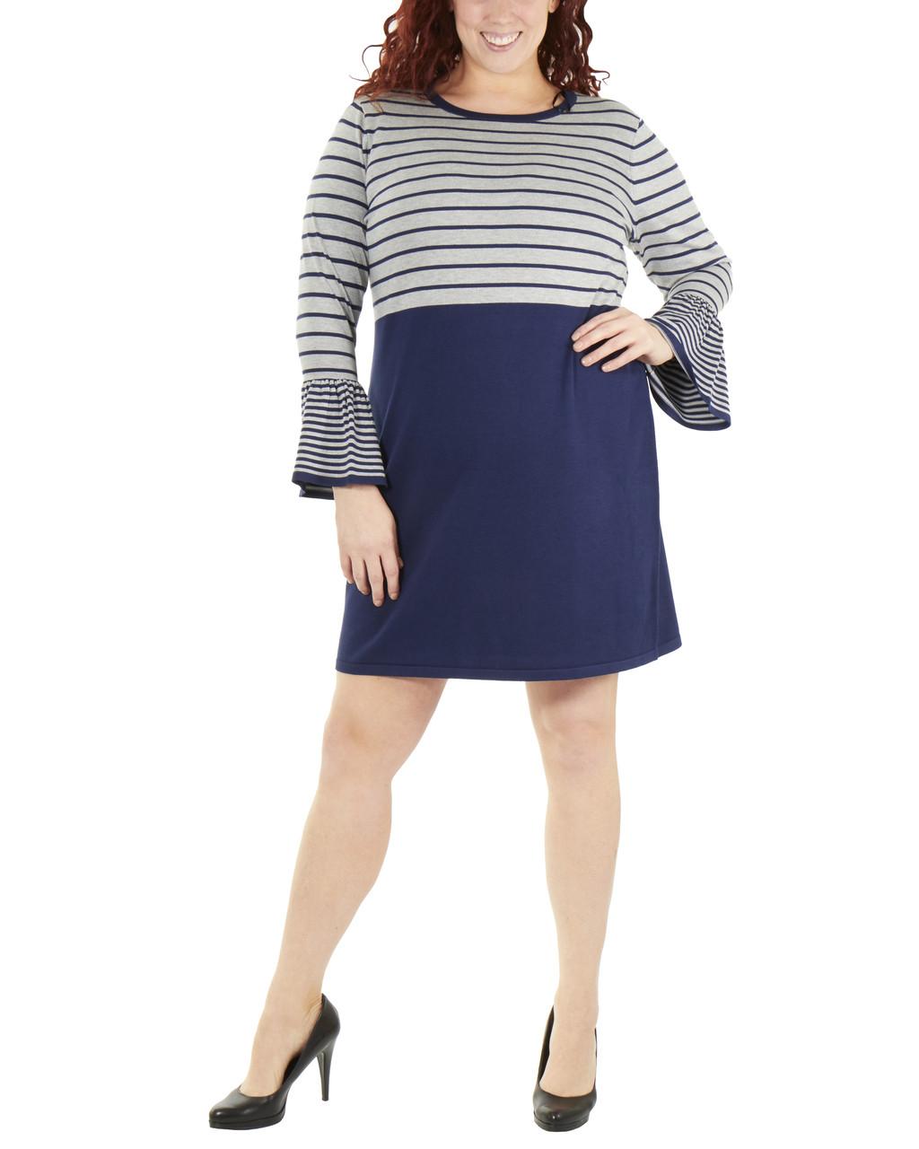 Plus Size Long Sleeve Stripe Dress~Destiny*WSOD0241