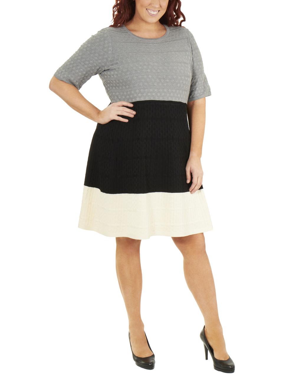 Plus Size Elbow Sleeve Colorblock Dress~Malena*WSOD0240