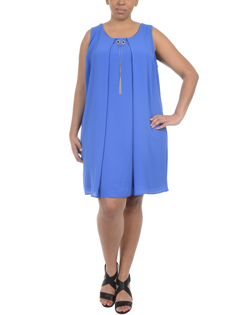 Plus Size Sleeveless Open Back Dress with Necklace~Nautical Blue ...