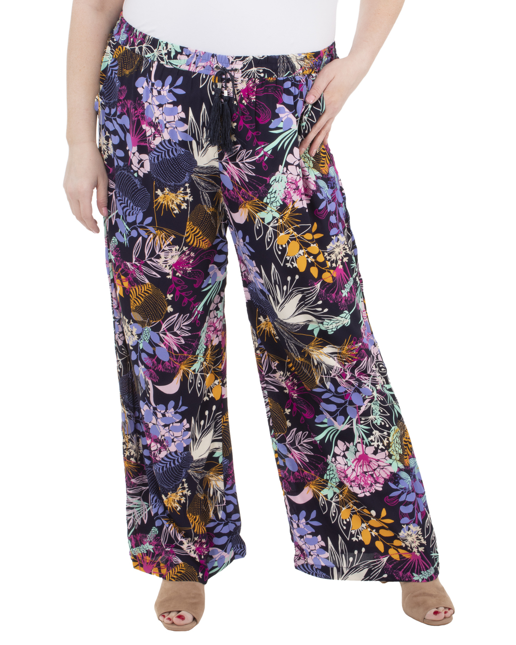 Plus Size Elastic Waist Tassel Tie Palazzo Pants~Navy Flowerclub ...