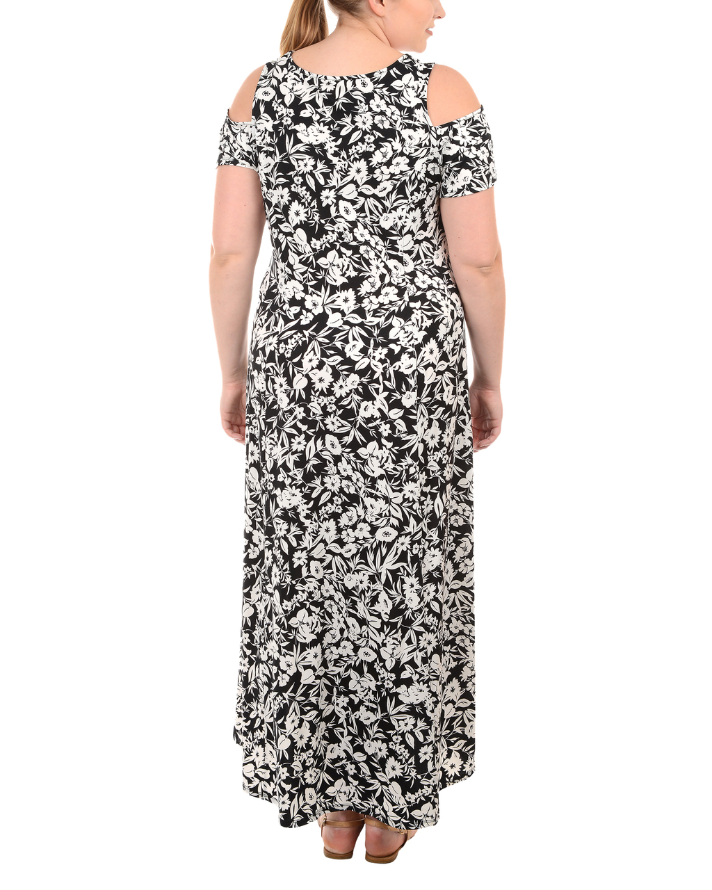 Plus Size Cold Shoulder High-Low Maxi Dress~Black Russo*WITD3466