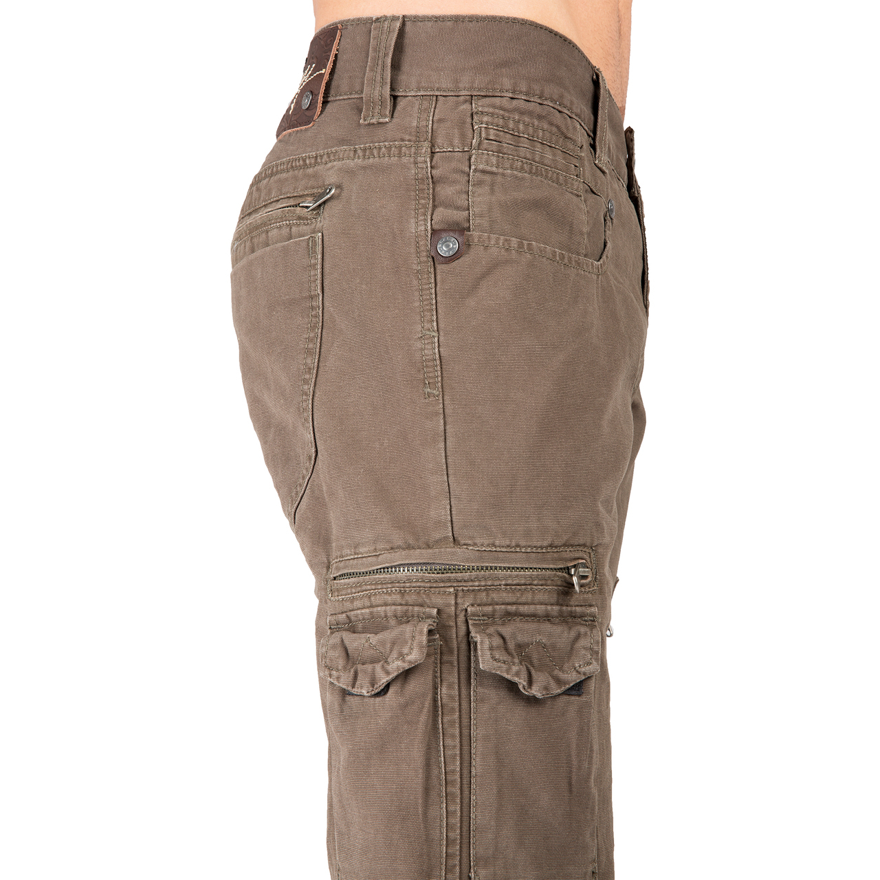 Level 7 Mens Relaxed Straight Gray Canvas Premium Jeans Cargo Zipper Pockets