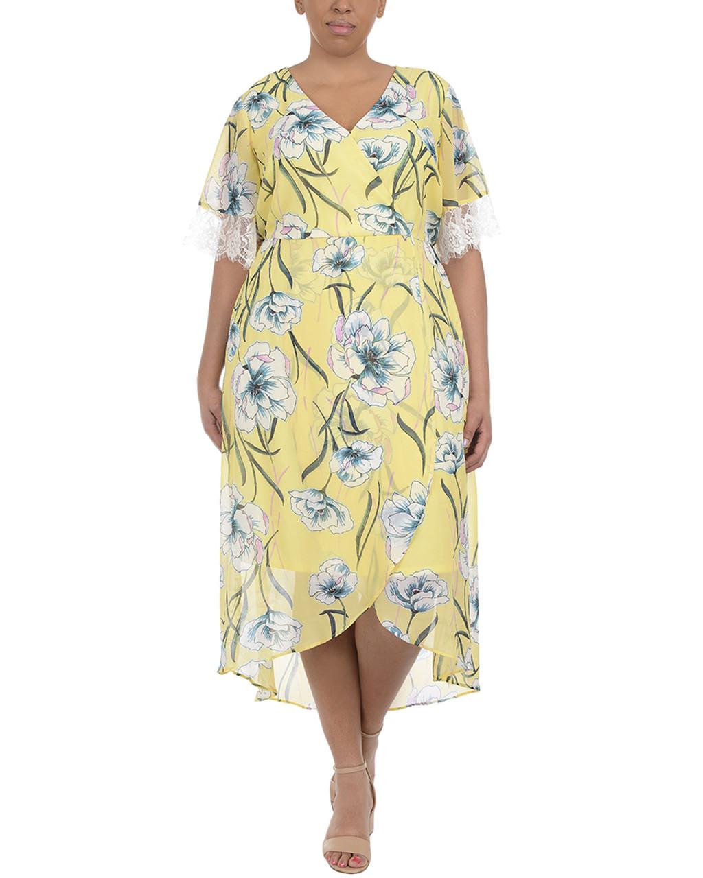 Plus Size Lace Trim High-Low Wrap Maxi Dress~Pale Impressed*WCCD0345
