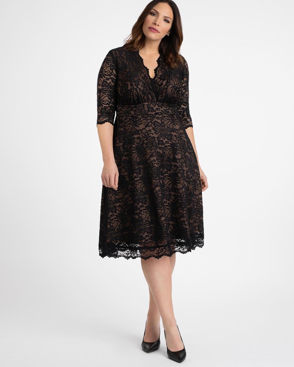 Kiyonna Women\'s Plus Size Mademoiselle Lace Dress~Black/Beige*12150901