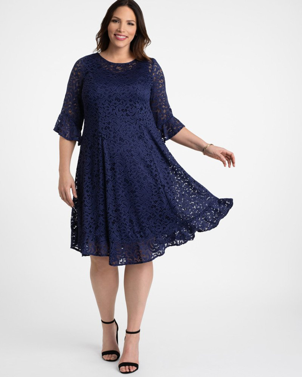 Kiyonna Women\'s Plus Size Livi Lace Dress~Blue/Navy*14170903