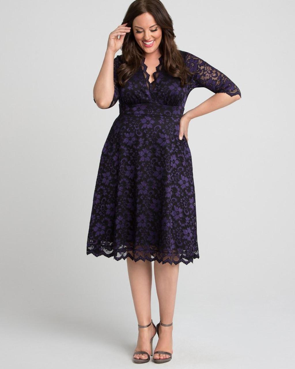 Kiyonna Women\'s Plus Size Mon Cherie Lace Dress~Black/Purple/Blue*1180906
