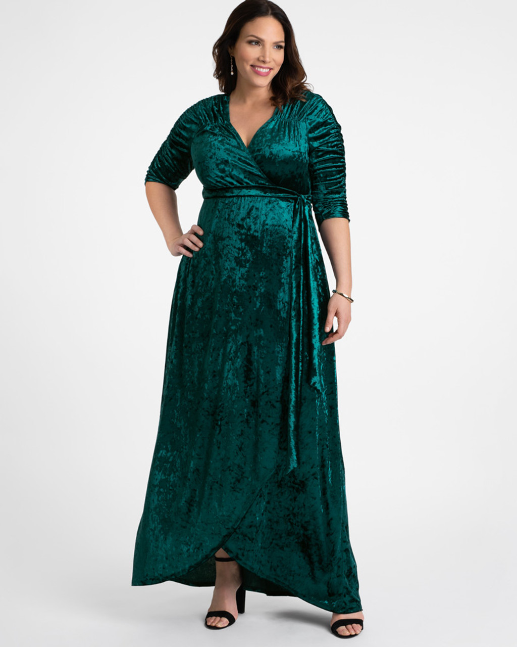 Kiyonna Women\'s Plus Size Cara Velvet Wrap Dress~Green/Teal*13183002