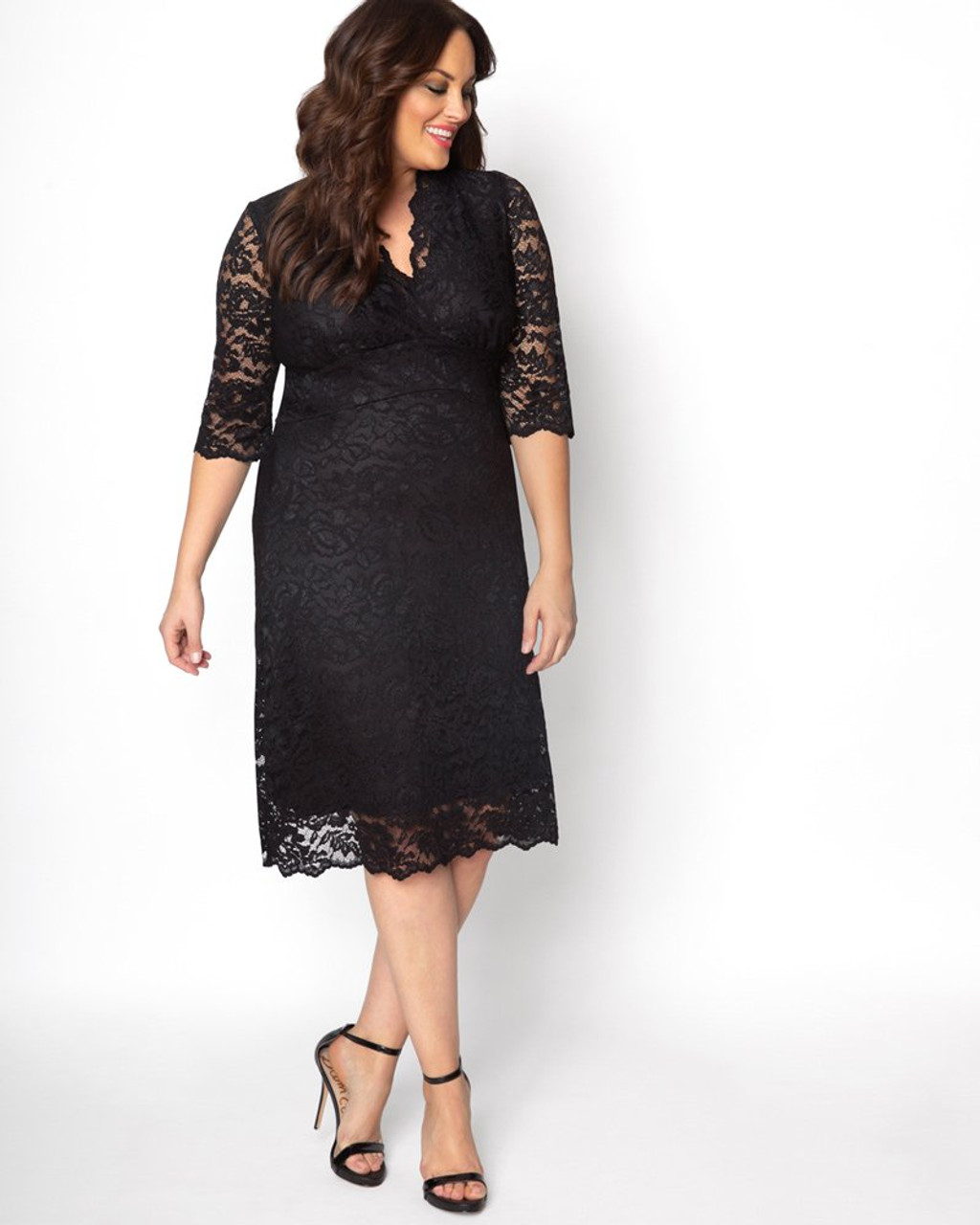 Kiyonna Women\'s Plus Size Scalloped Boudoir Lace Dress~Black*12060902