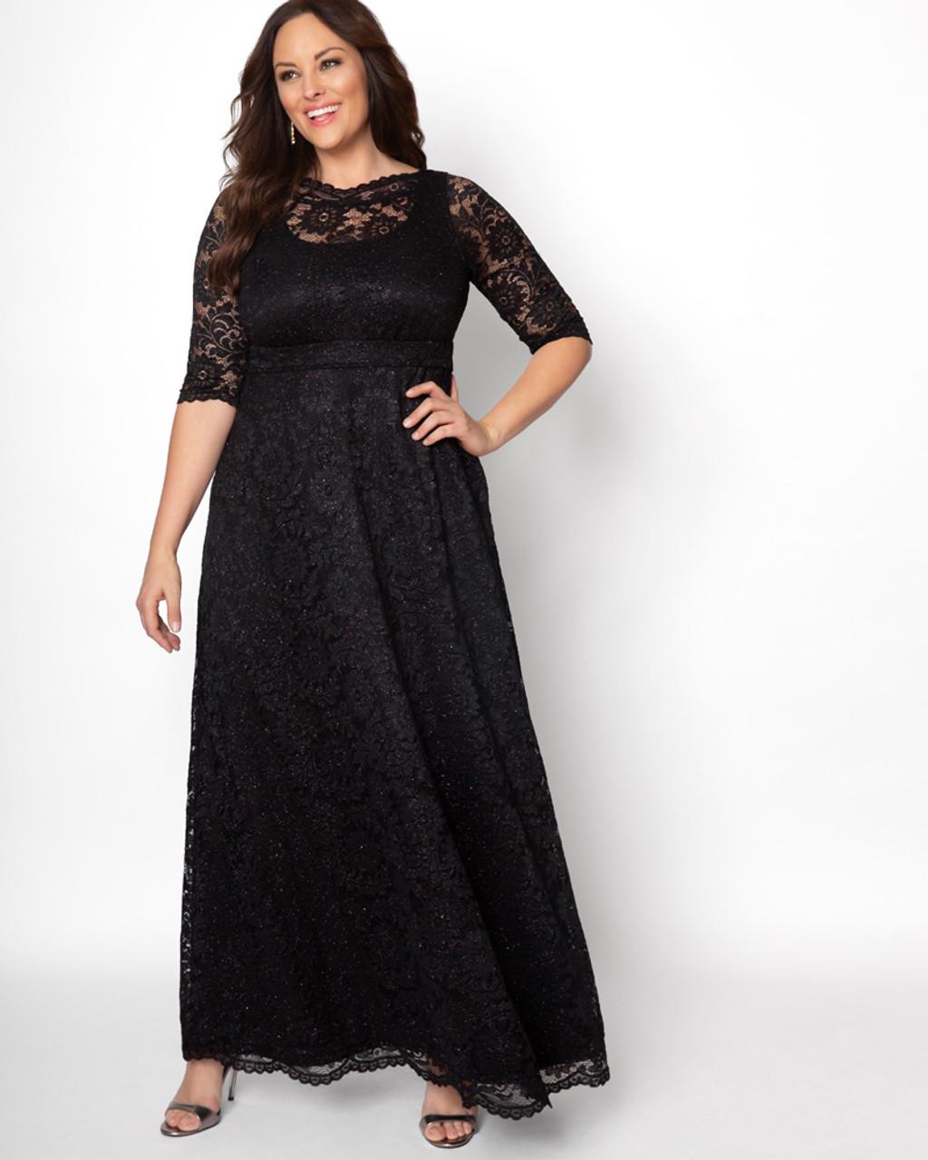 Kiyonna Women\'s Plus Size Leona Lace Glitter Gown~Black*13180910