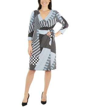 9fb10cbe2c2 Patchwork Tie Front Wrap Dress~Black Dotpatch MITD3695