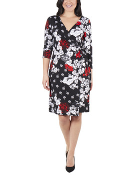 ed41dce34b7 Floral Sleeve Tie Front Wrap Dress~Black Giofleur MITD3695