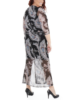 d45a54d2d49 Plus Size Paisley Sleeve Double Slit Maxi Dress~Black Farinapais WMED0195