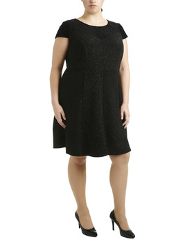 eb76218cb8f Plus Size Cap Sleeve Fit and Flare Dress~Black Starboy WNKD0388