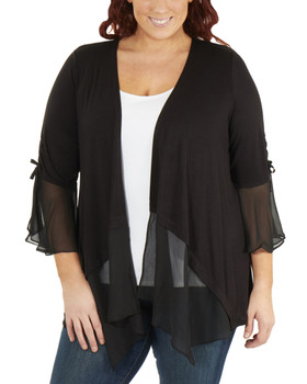 f1ec7889410 Plus Size Ruched Bell Sleeve Open Front Cardigan~Black Mixcombo WRSR0242