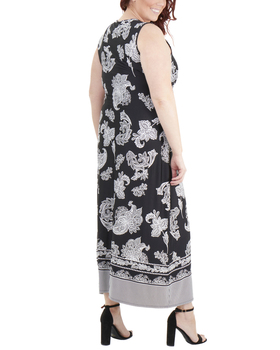 68e3460a871 Plus Size Wrap Front Maxi Dress with Hardware Belt Trim~Black  Stripepais WITD3766