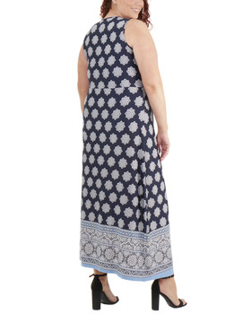 85923eaac3b64 Plus Size Wrap Front Maxi Dress with Hardware Belt Trim~Navy  Moroccowall WITD3766