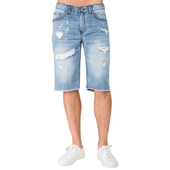 78c23c23004 Level 7 Men's Light Blue Relaxed Premium Denim Cut Off Shorts with  Distressed Mended Raw Edge. Compare