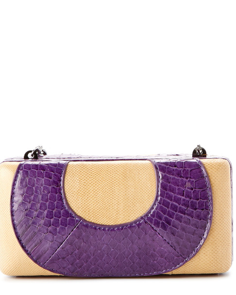 Matthew Campbell Laurenza Leather and Python Clutch~1111325626